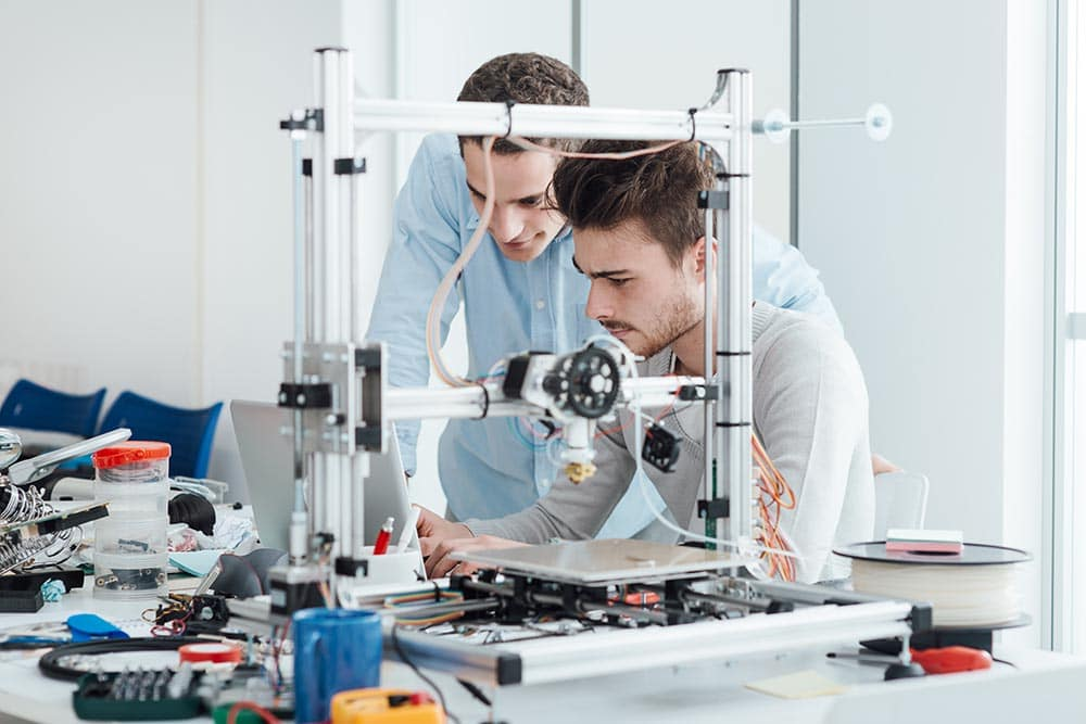 Young researchers and 3D printer
